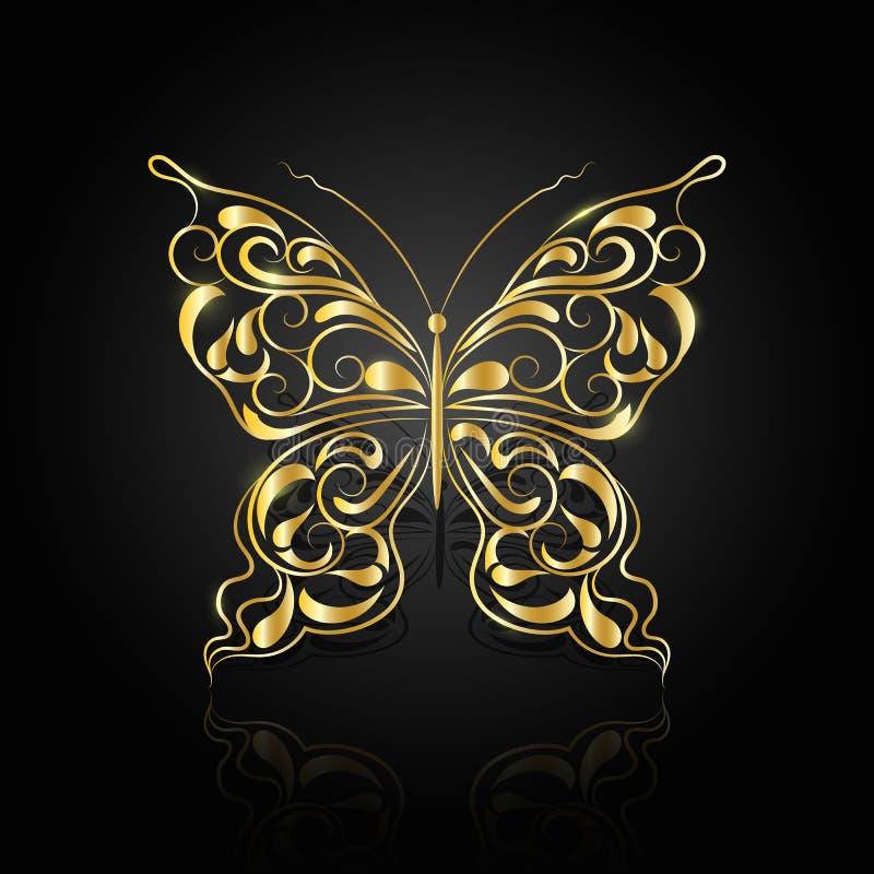 Złocisty abstrakcjonistyczny motyl na czarnym tle obrazy royalty free