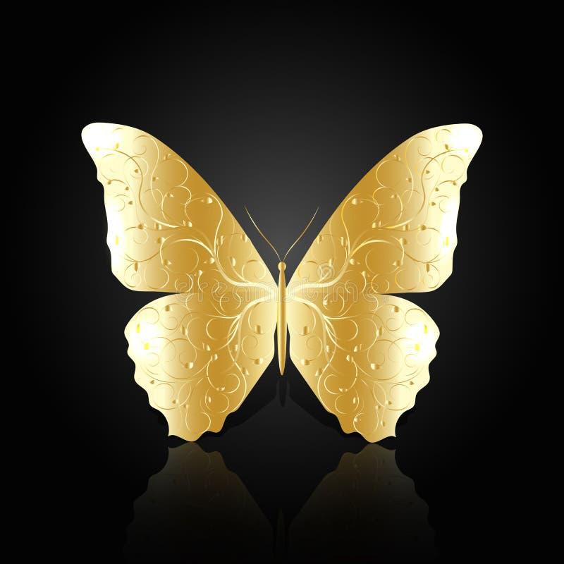 Złocisty abstrakcjonistyczny motyl na czarnym tle royalty ilustracja