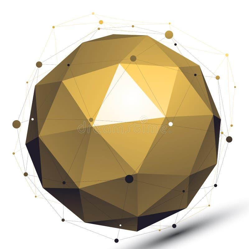 Złocisty abstrakcjonistyczny technologiczny 3D sieci wektorowy przedmiot, sztuki spheri royalty ilustracja