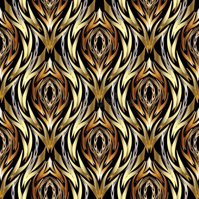 Złocisty abstrakcjonistyczny textured wektorowy bezszwowy wzór Wzorzysty orname ilustracji