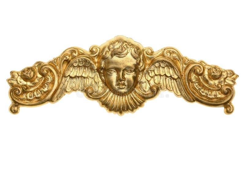 Złocisty aniołeczek korony ornament obraz royalty free