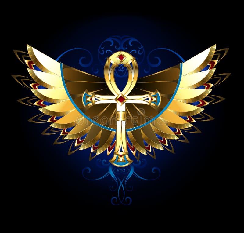 Złocisty Ankh z skrzydłami royalty ilustracja