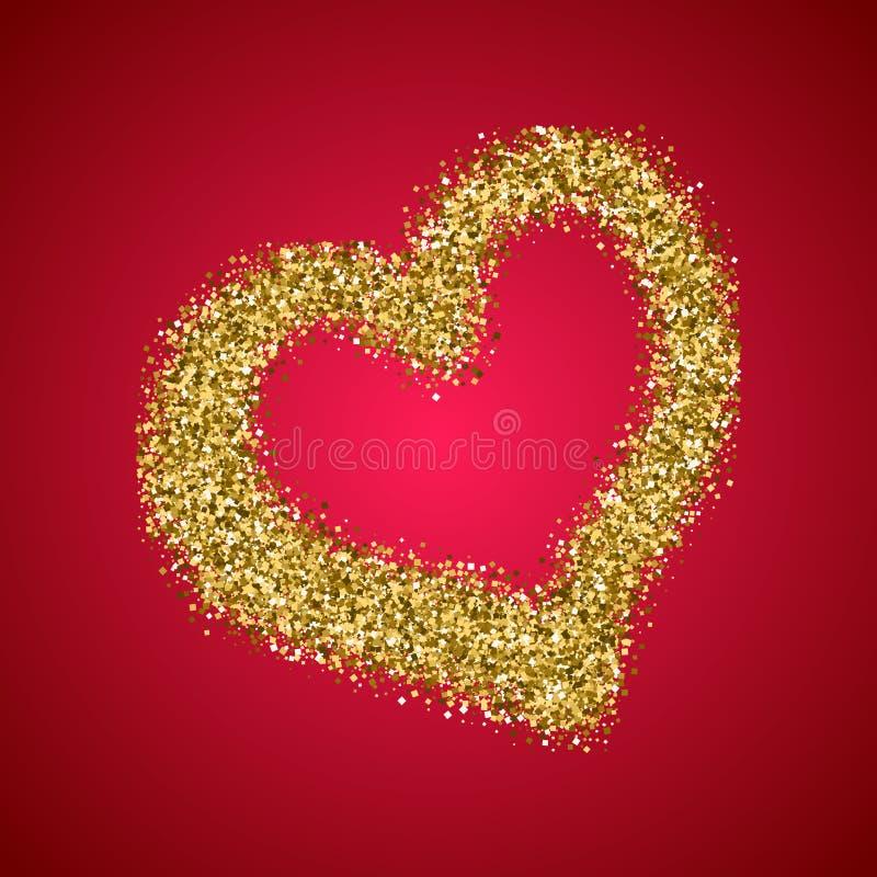 Złocisty błyskotliwość walentynek dnia serce na czerwonym gradiencie royalty ilustracja