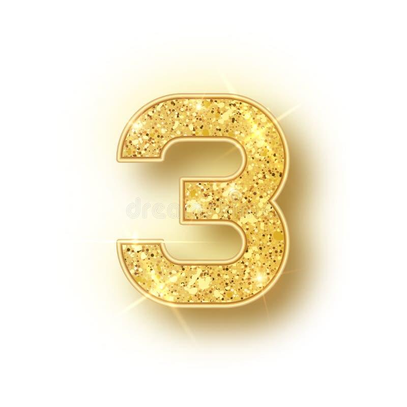 Złocisty błyskotliwości abecadło liczy 3 z cieniem Wektorowy realistick błyszczy złotej chrzcielnicy liczba trzy błyska na bielu ilustracja wektor