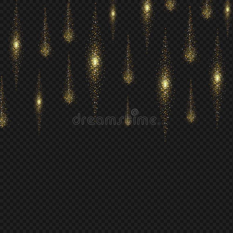 Złocisty błyskotliwości stardust tło linii błyskać Shimmer podeszczowy wektor ilustracji