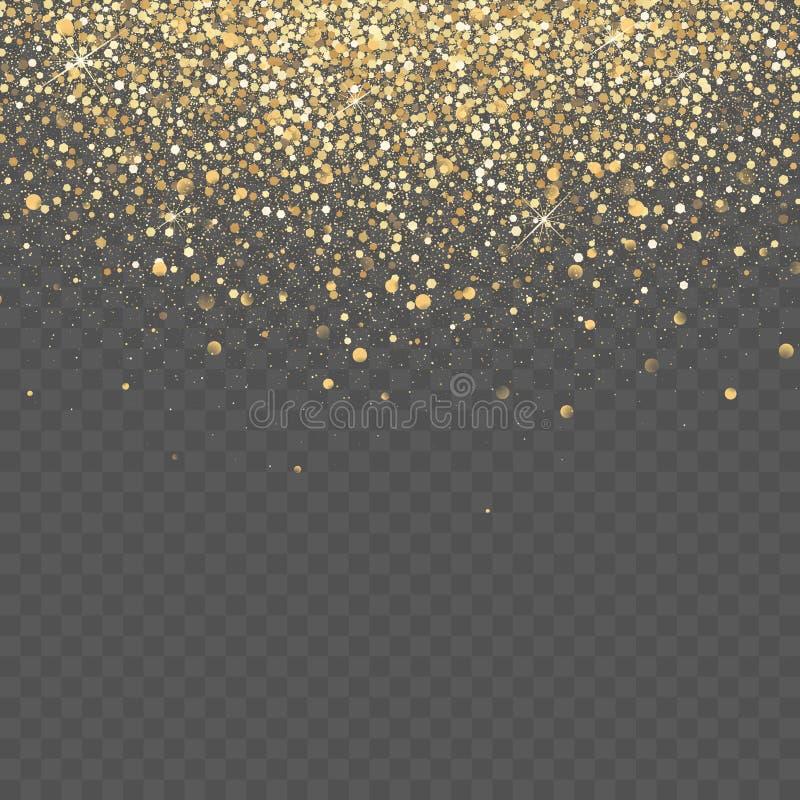 Złocisty błyskotliwości tło Gwiazdowy pył iskrzy przejrzystego tło fotografia stock