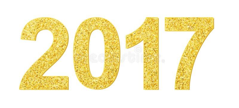 Złocisty błyskotliwości tekstury 2017 wesoło bożych narodzeń nowego roku szczęśliwy element obraz stock