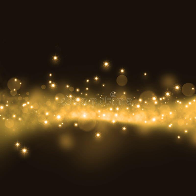 Złocisty błyskotliwy gwiazda pyłu śladu tło ilustracji