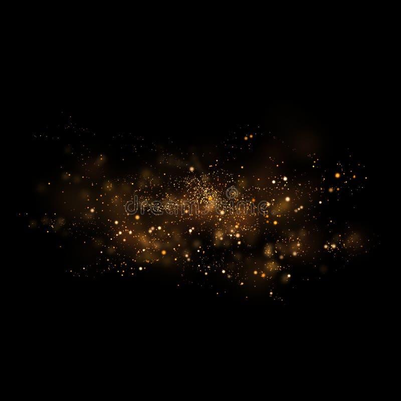 Złocisty błyskotliwy gwiazdy światło, bokeh i Magiczny pyłu abstrakta backgro royalty ilustracja