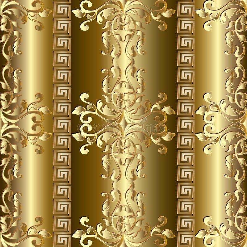 Złocisty barokowy bezszwowy wzór grecy ozdób royalty ilustracja