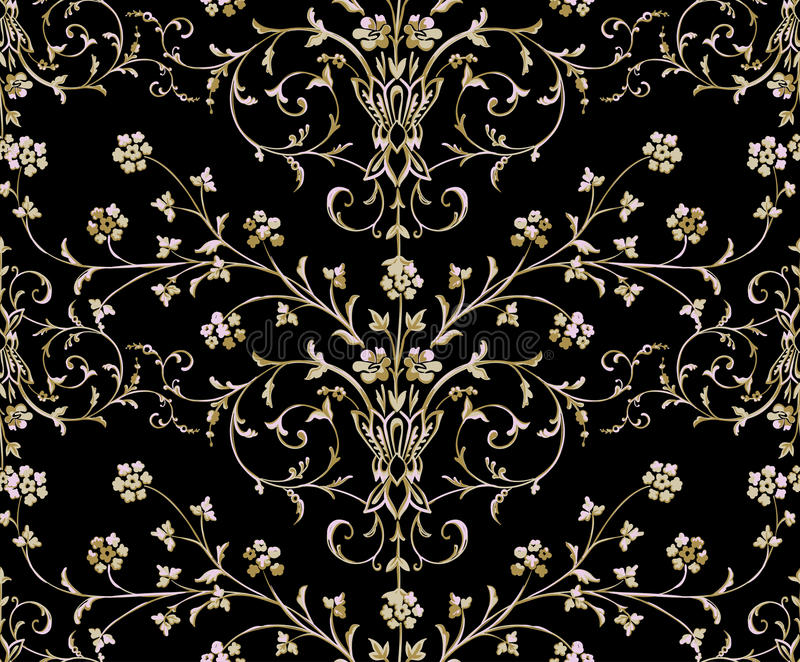 Złocisty Barokowy bezszwowy wzór na czarnym tle ilustracja wektor
