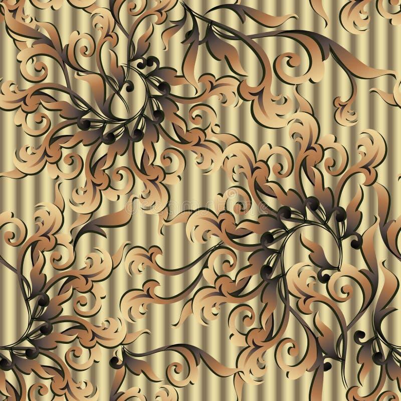 Złocisty Barokowy wektorowy bezszwowy wzór Textured złoty 3d backgro royalty ilustracja