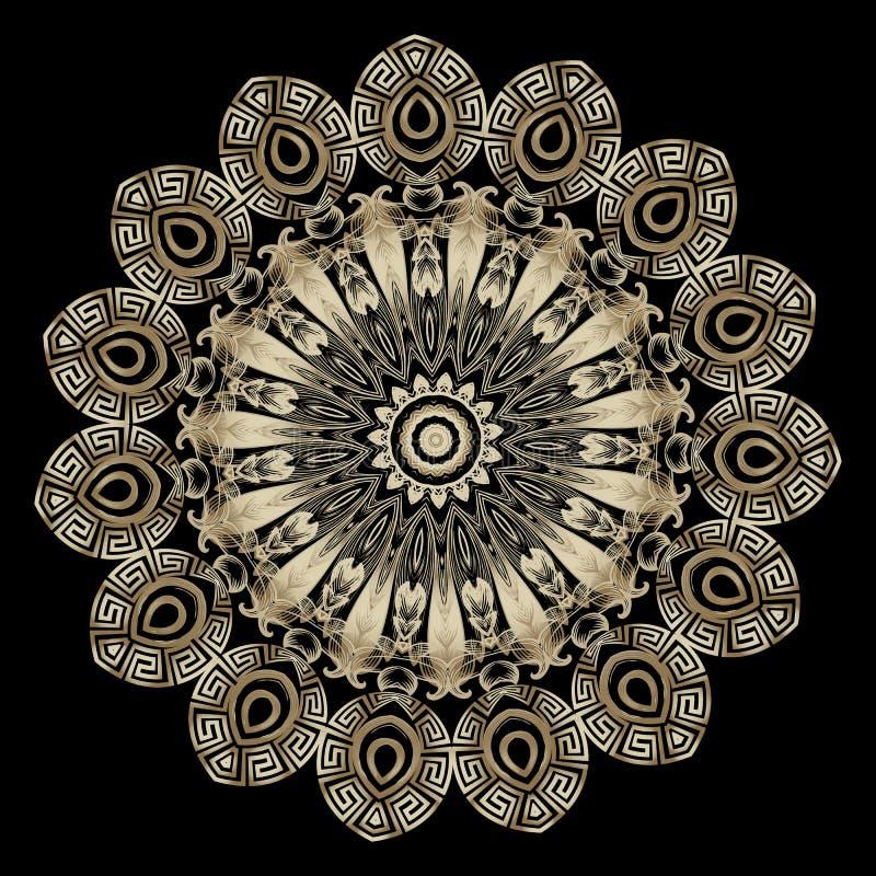 Złocisty Barokowy wektorowy round mandala wzór Ornamentacyjny tło z okręgu grka kwiecistą ramą Rocznik?w kwiaty, li?cie greeley royalty ilustracja