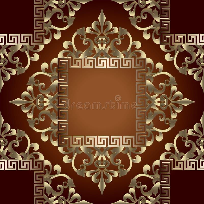 Złocisty baroku 3d wektorowy bezszwowy wzór z kwadratowymi grka klucza meanderu ramami Ozdobny luksusowy tło Geometryczny grek ilustracja wektor