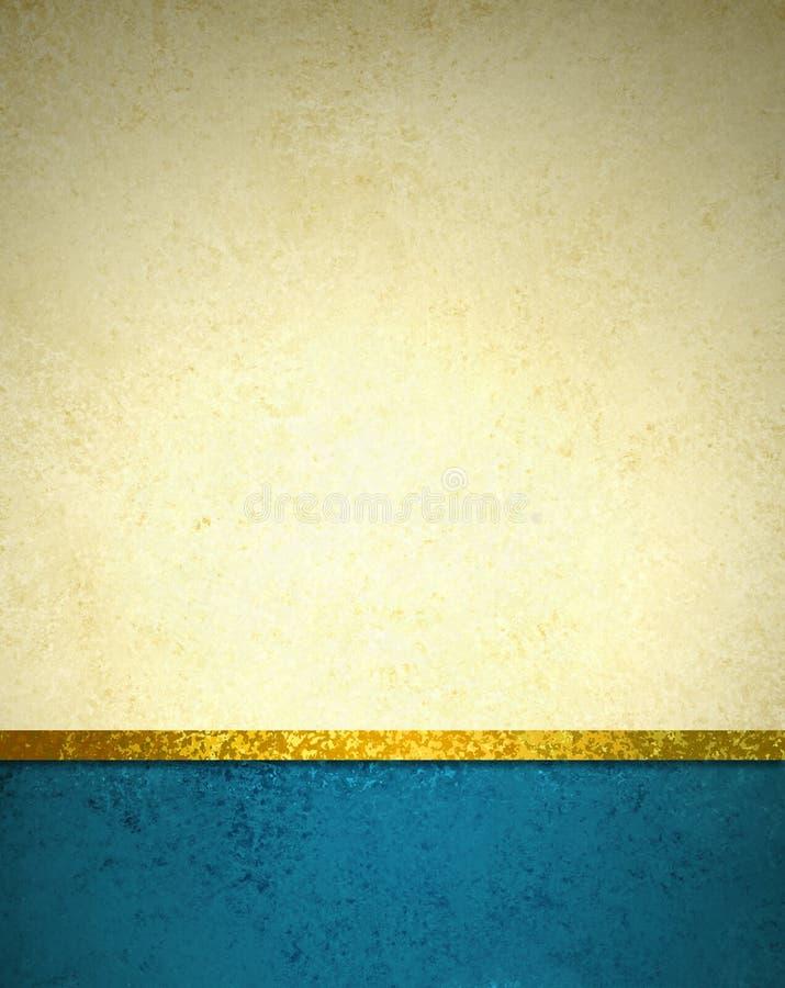 Złocisty beżowy tło z błękitną stopki granicą, złocisty tasiemkowy podstrzyżenie i grunge rocznika tekstura,