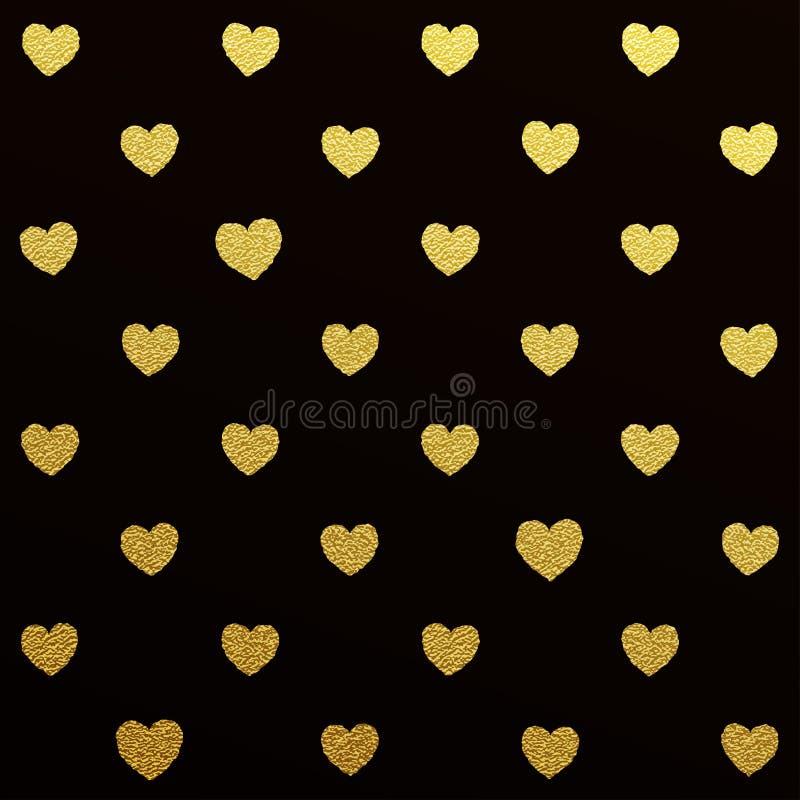 Złocisty bezszwowy wzór serca na czarnym tle royalty ilustracja