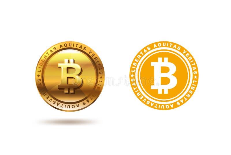 Złocisty Bitcoin monety loga projekt Fintech Blockchain logotypu mieszkanie ilustracji