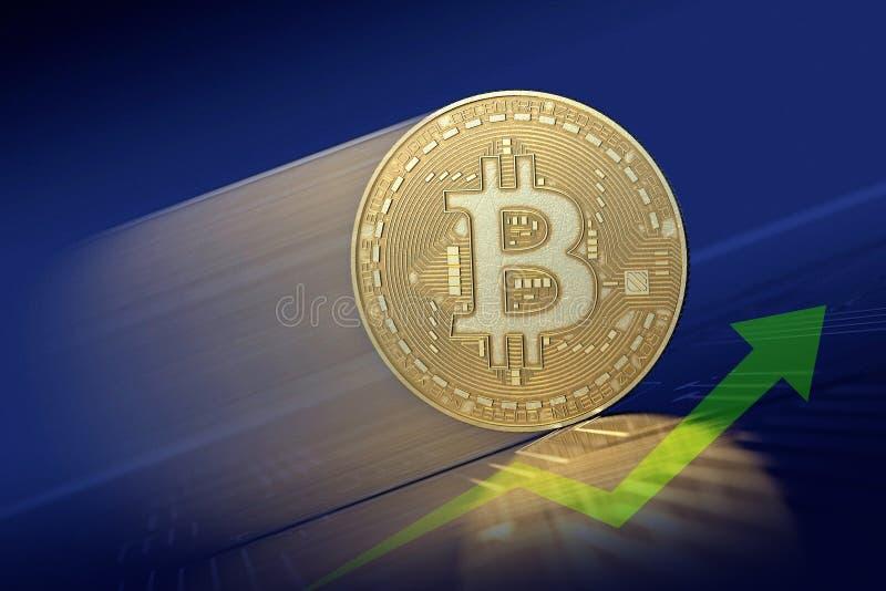Złocisty Bitcoin poruszający w górę byka rynku z strzałkowatym wykresem w, ilustracji