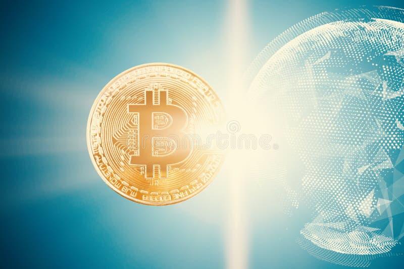 Złocisty bitcoin z jaskrawym tłem zdjęcie royalty free