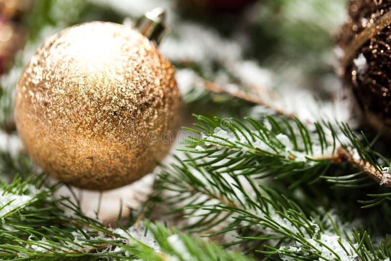 Złocisty boże narodzenie ornament na liściach zdjęcie royalty free