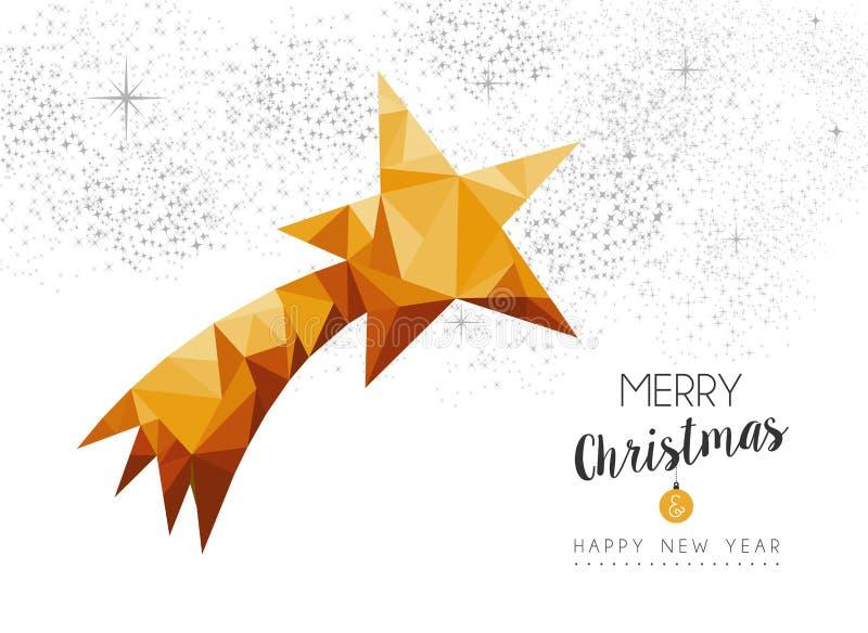 Złocisty Bożenarodzeniowy nowy rok gwiazdy ornament w niski poli- ilustracji