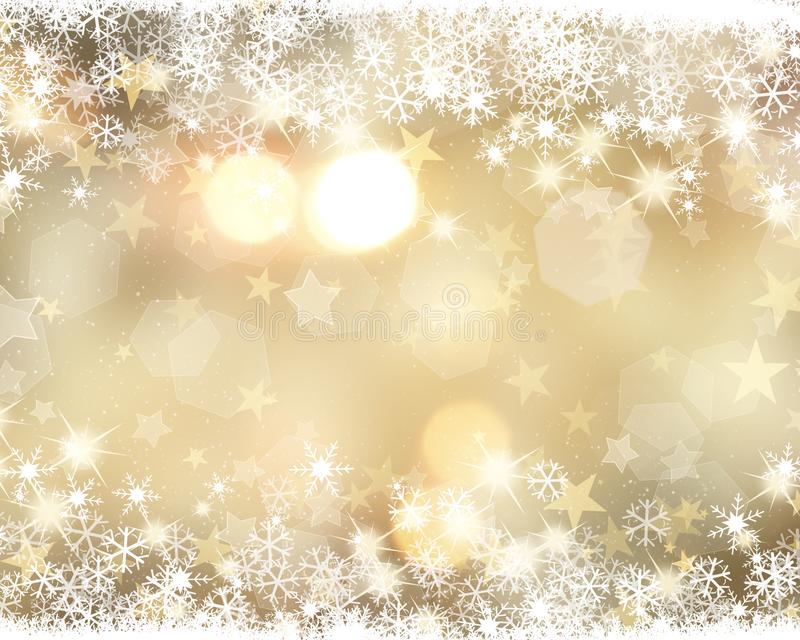 Złocisty Bożenarodzeniowy tło z płatek śniegu i gwiazdami ilustracji