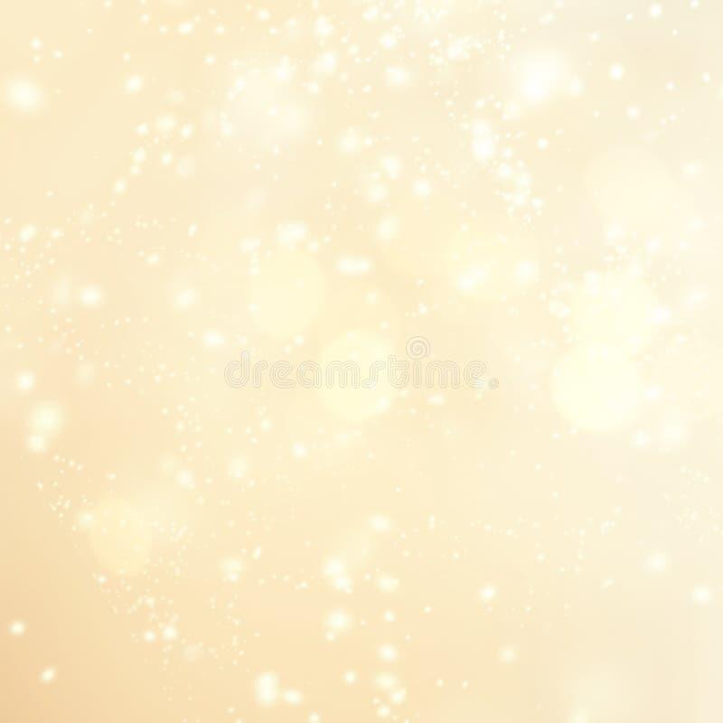 Złocisty bożonarodzeniowe światła tło z iskrzastym bokeh Abstrakt obraz stock