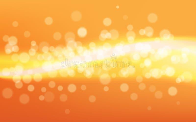 Złocisty bokeh tło Żółci defocused światła i linie Jaskrawy pogodny skutek z cząsteczkami świętowania pojęcia odosobniony biel ilustracja wektor