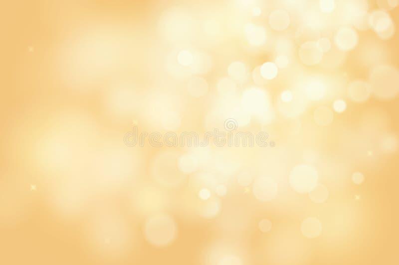 Złocisty bokeh tło dla bożych narodzeń i kartka z pozdrowieniami ilustracja wektor