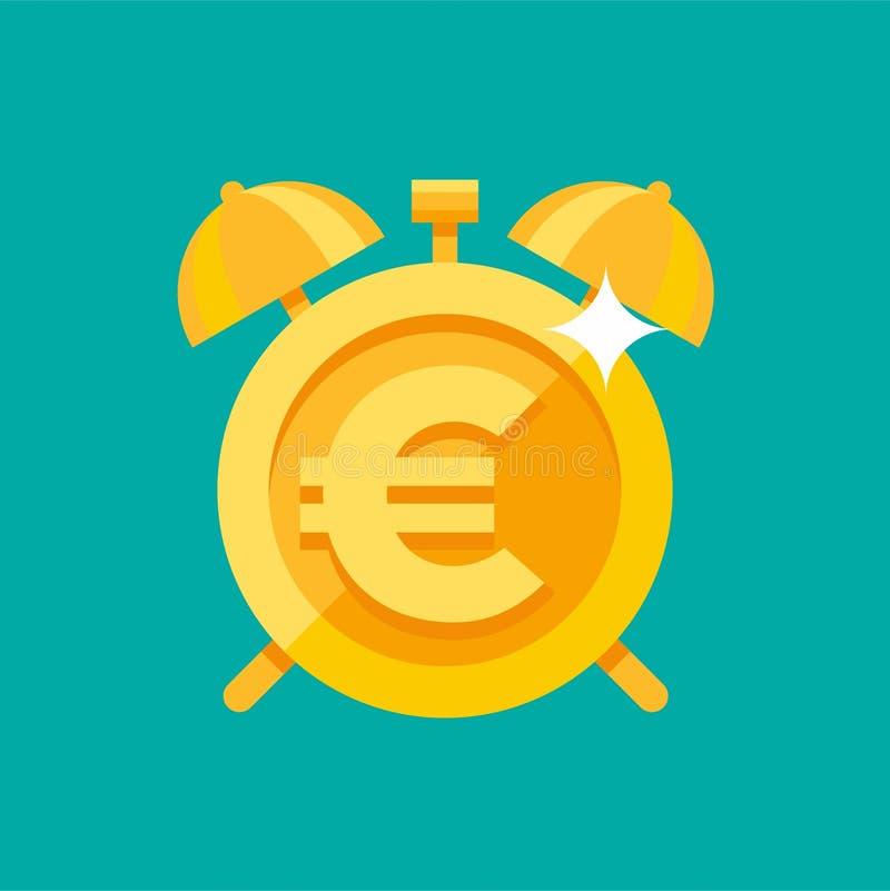 Złocisty budzik z euro symbolem ilustracja wektor