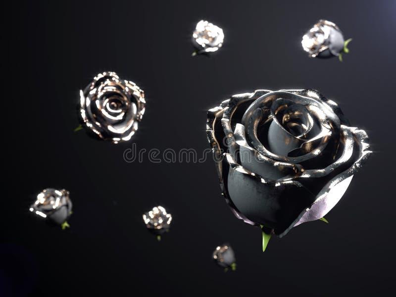 Złocisty czarny kwiat wzrastał na czarnym tle 3 d czynią ilustracji