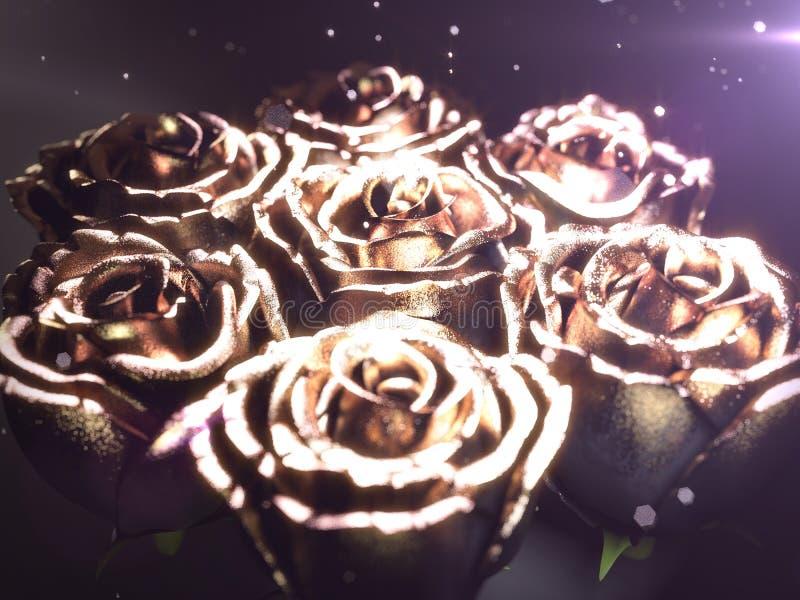 Złocisty czarny kwiat wzrastał na czarnym tle 3 d czynią royalty ilustracja