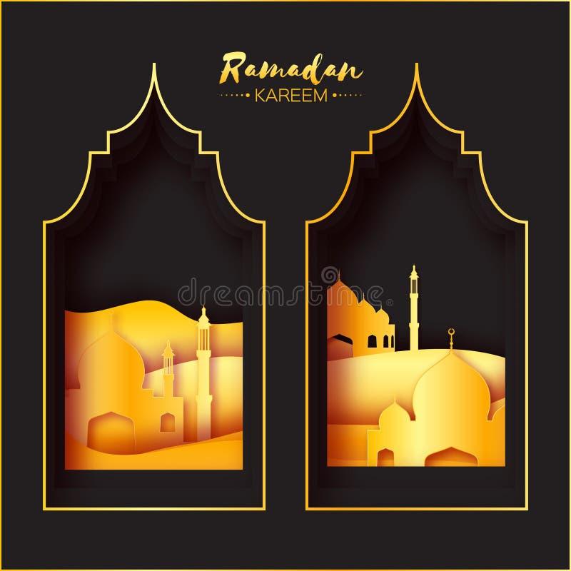 Złocisty Czarny Origami Ramadan Kareem Meczetowy Nadokienny kartka z pozdrowieniami
