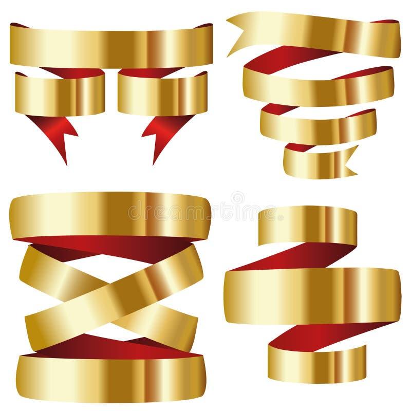 Złocisty czerwony tasiemkowy sztandar kolekci set ilustracji