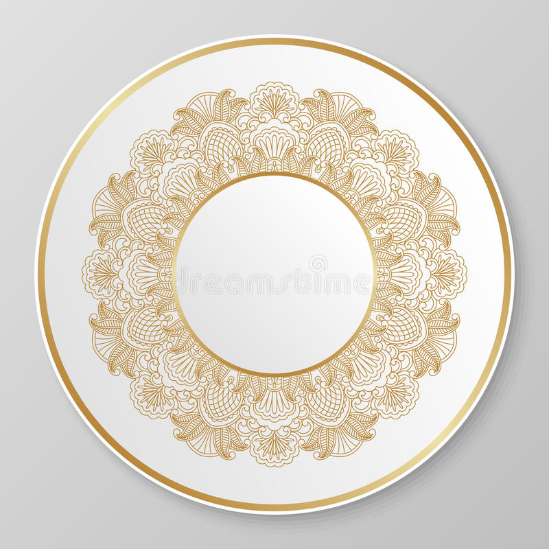Złocisty dekoracyjny talerz royalty ilustracja