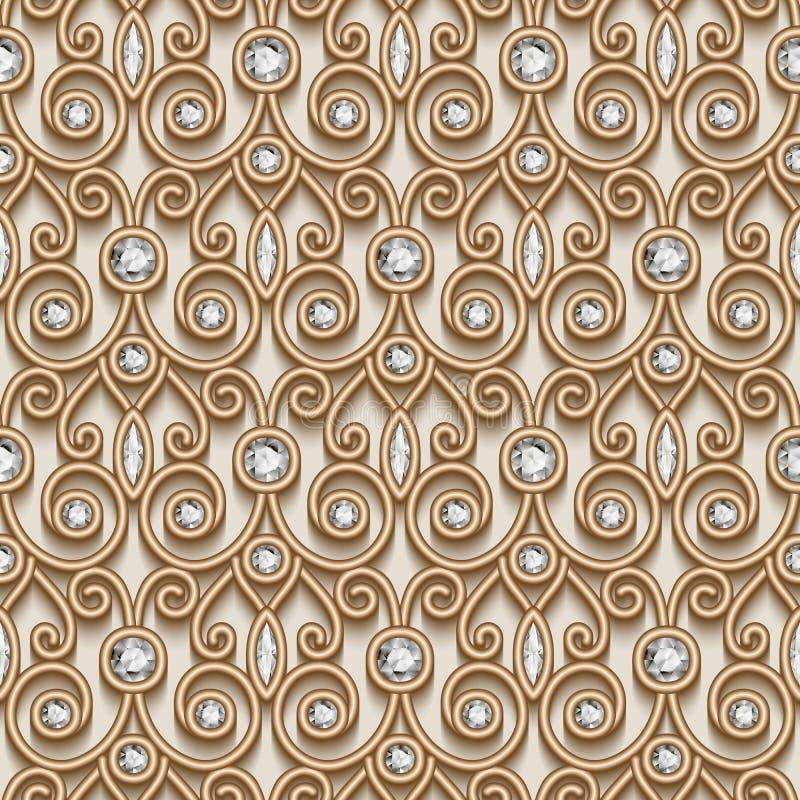 Złocisty diamentu wzór ilustracja wektor