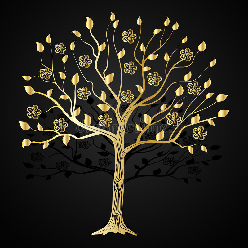 Złocisty drzewo z kwiatami royalty ilustracja