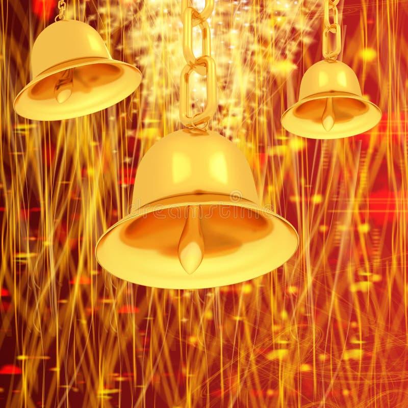 Złocisty dzwon na zimie lub boże narodzenia projektujemy tło z fala gwiazdy royalty ilustracja