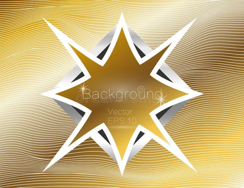 Złocisty falisty, linie luksusowe Wektorowa tekstura złoto paskuje tło, z ciemnym gwiazdkowatym talerzem Cewienie pasek ilustracji