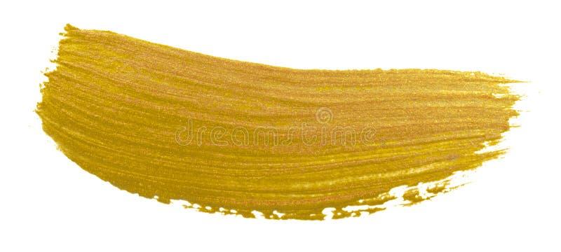 Złocisty farby muśnięcia rozmazu uderzenie Akrylowa złota kolor plama na białym tle Abstrakcjonistyczny złocisty połyskuje textur obrazy stock