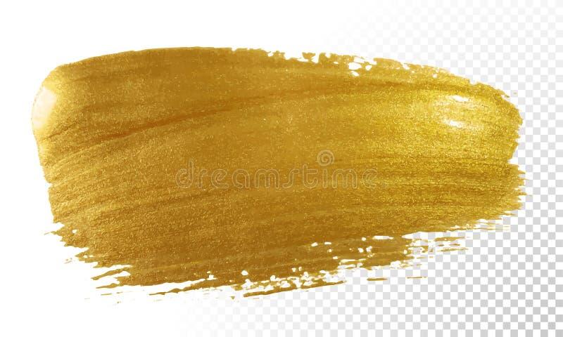 Złocisty farby muśnięcia rozmazu wektorowy uderzenie Akrylowa złota kolor plama na przejrzystym tle Abstrakcjonistyczny wektorowy ilustracji