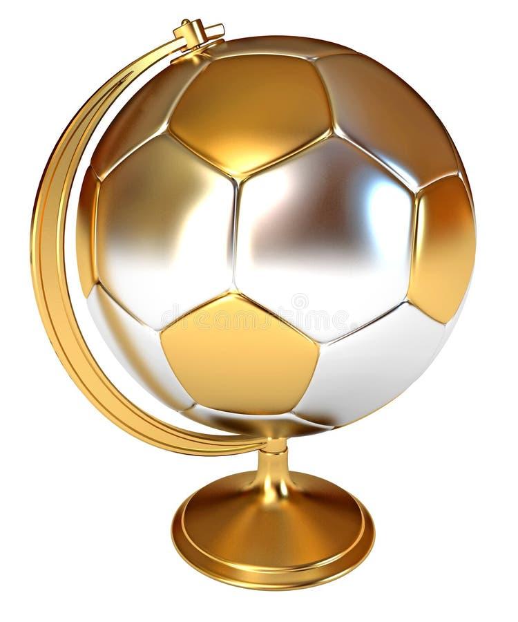 Złocisty filiżanka zwycięzca jako piłki nożnej kula ziemska i piłka fotografia royalty free