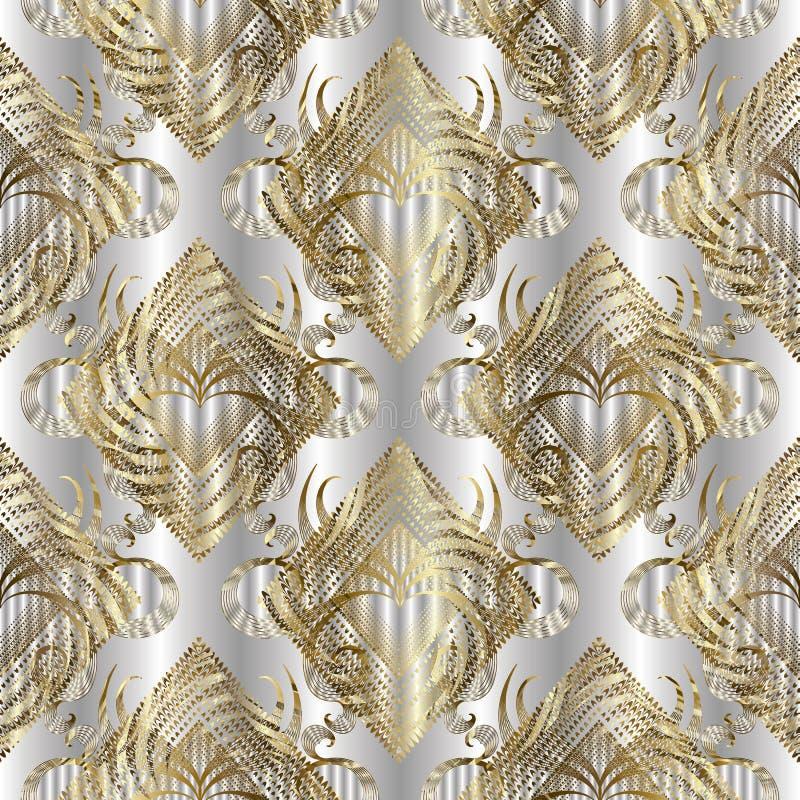 Złocisty grunge textured 3d wektorowy bezszwowy wzór Jedwabiów srebni bębeny ilustracja wektor