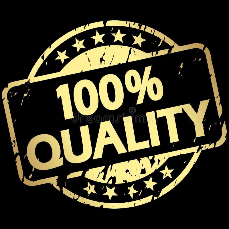 złocisty grunge znaczek z sztandar 100% ilością royalty ilustracja