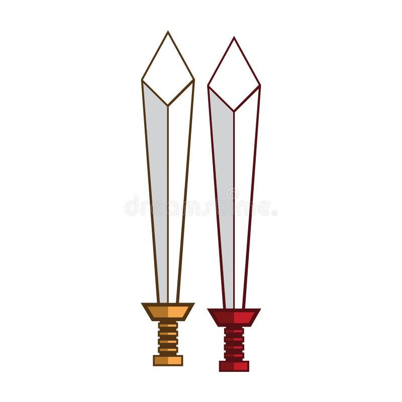 Złocisty i czerwony kordzika logo pojęcie ilustracja wektor