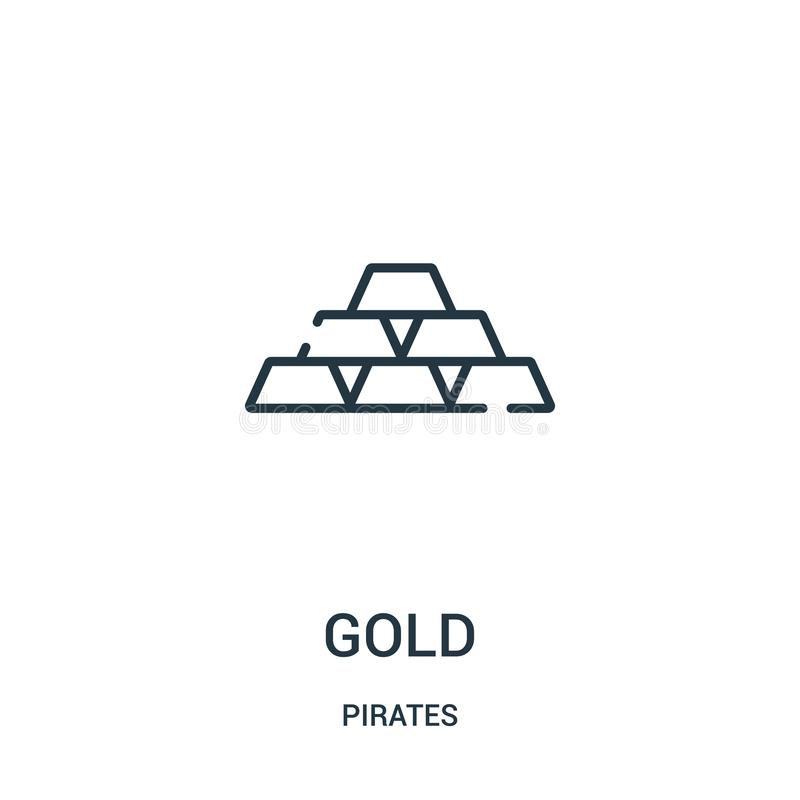 złocisty ikona wektor od piratów inkasowych Cienka kreskowa złocista kontur ikony wektoru ilustracja Liniowy symbol dla używa na  ilustracji