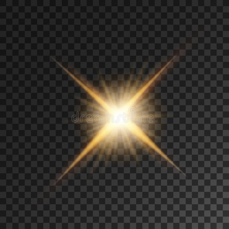 Złocisty jaskrawy gwiazdy światła błysk royalty ilustracja
