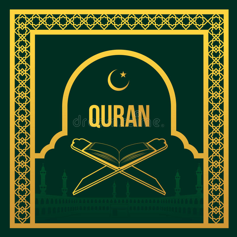 Złocisty koran w złocistego Masjidil Haram języka arabskiego ramy stylu wektorowym projekcie i ilustracji