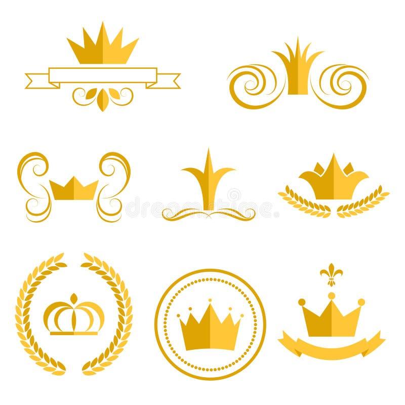 Złocisty koron odznak i logów klamerki sztuki wektoru set ilustracja wektor
