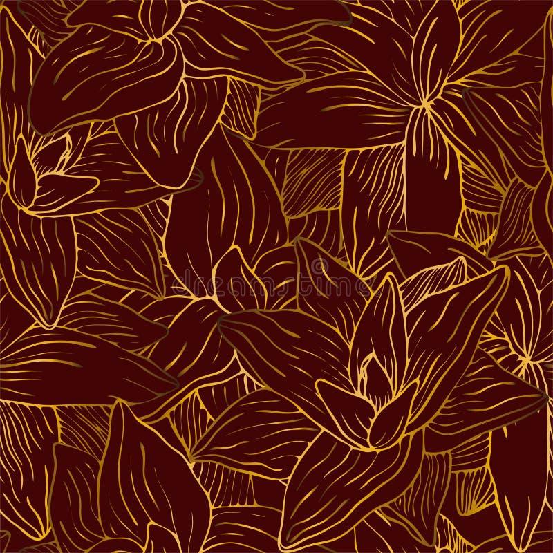 Złocisty kwiat na czerwień wzorze ilustracja wektor